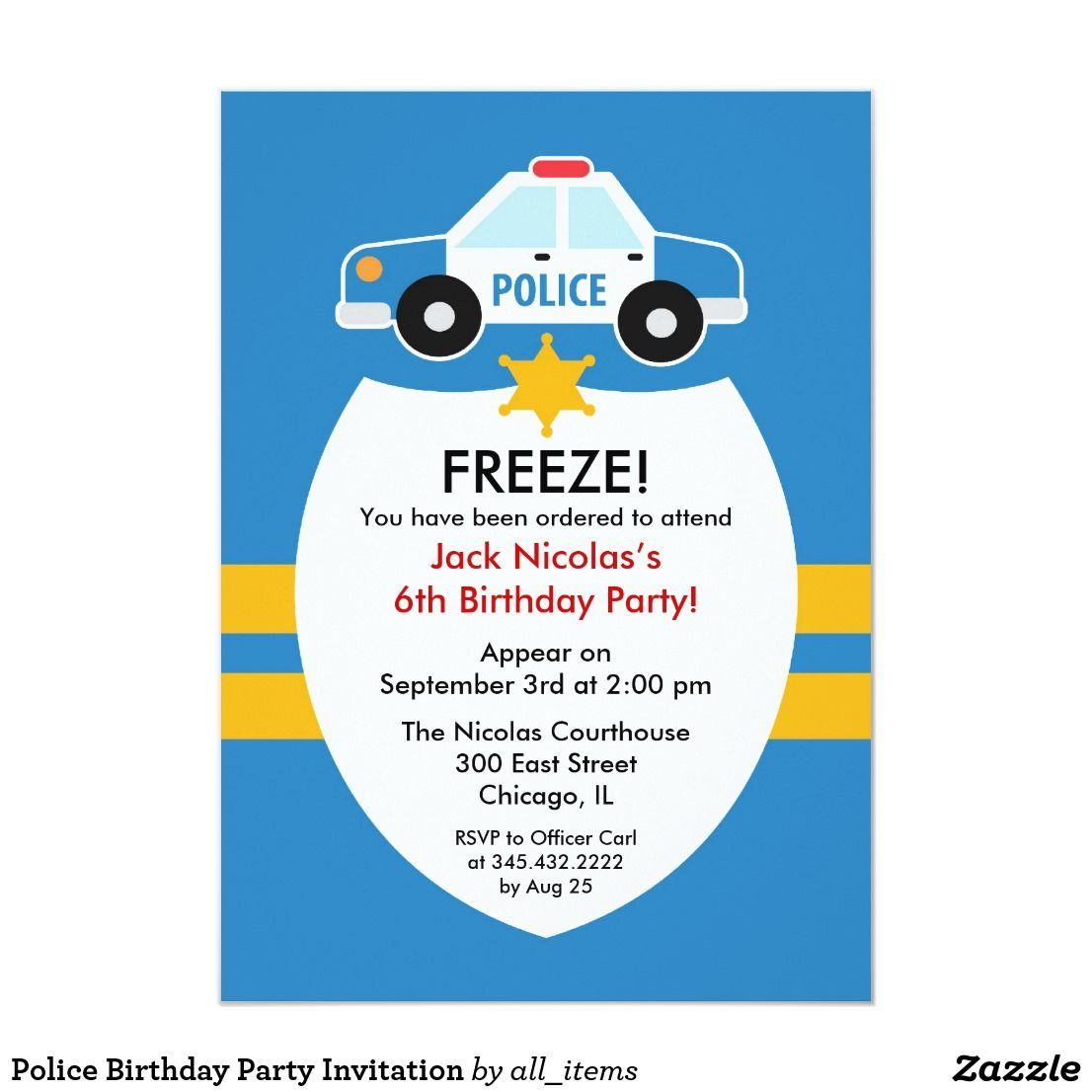 Police Birthday Party Invitation