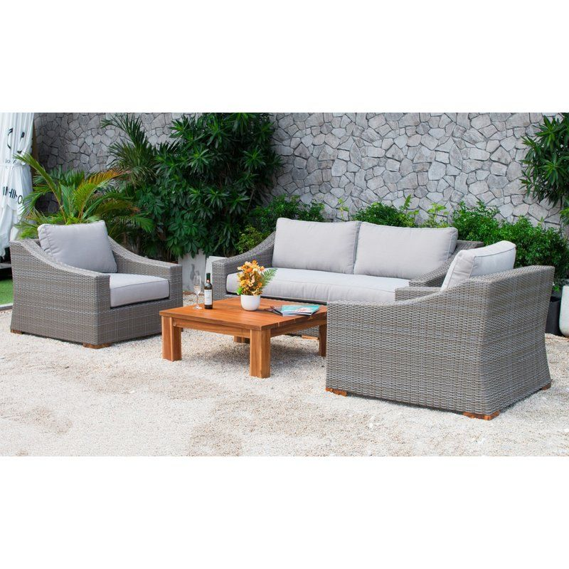 Ainsley 4 Piece Rattan Sofa Seating Group With Cushions Gray