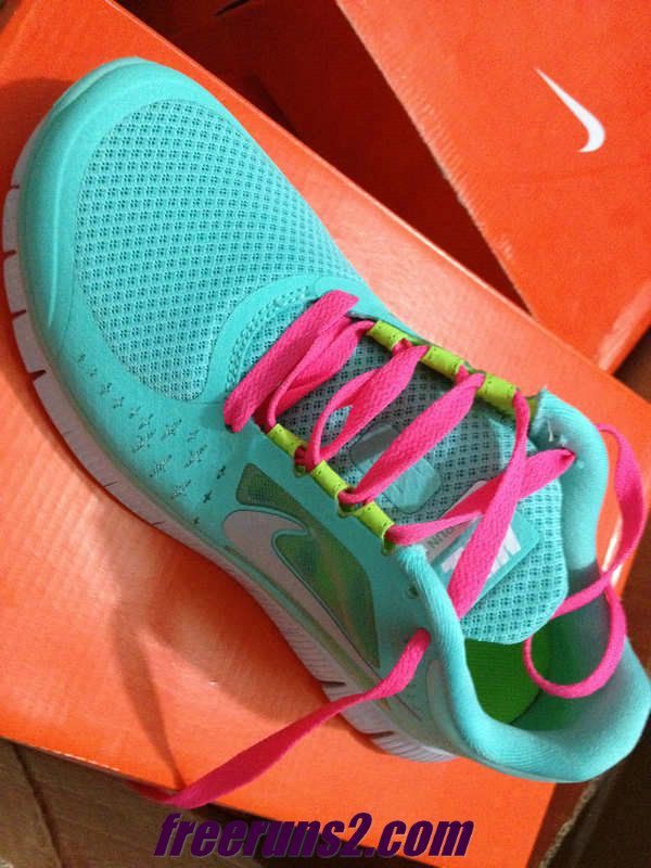 huge discount 1c7a3 4435b Womens Nike Free Run 3 Tropical Twist Reflect Silver Pure Platinum Hot Pink  Lace Tiffany Blue Nike Shoes