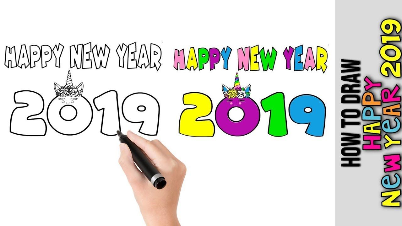 How To Draw Happy New Years 2019 Kawaii Cute Easy Drawings