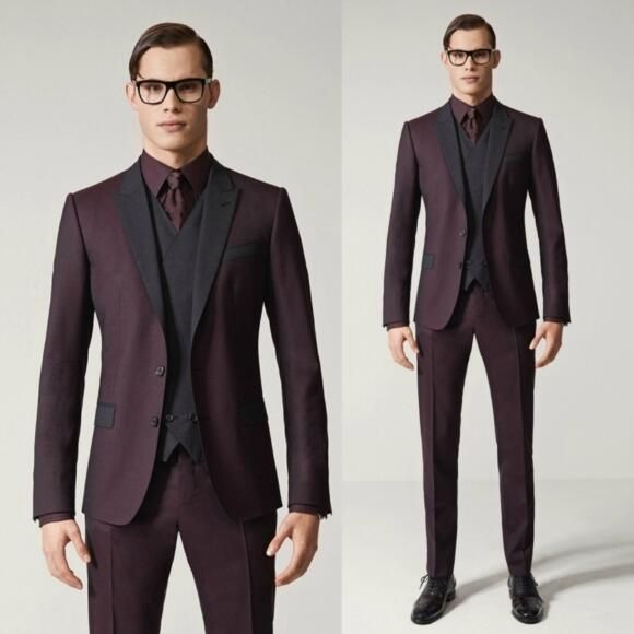 Latest Coat Pant Designs Burgundy Suits Wedding Suit For Men Custom Slim Fit Blazer 3 Pieces