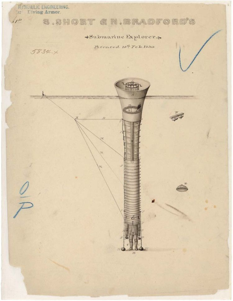In 1830, Sewall Short and Noah Bradford submitted a patent application for the submarine explorer. In their application, they claimed that they had created a water-tight suit, different from any diving apparatus known before.