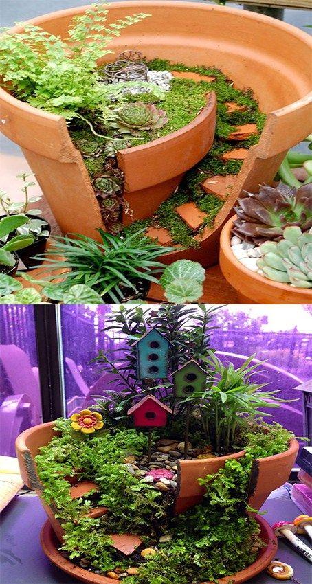 Diy broken pot fairy garden ideas picture instructions minigarten miniatur garten mini - Minigarten zubehor ...