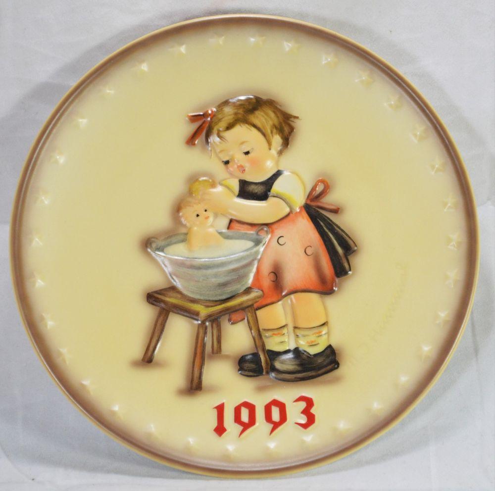 Hummel annual plate 1993 doll bath 289 hand painted germany no box