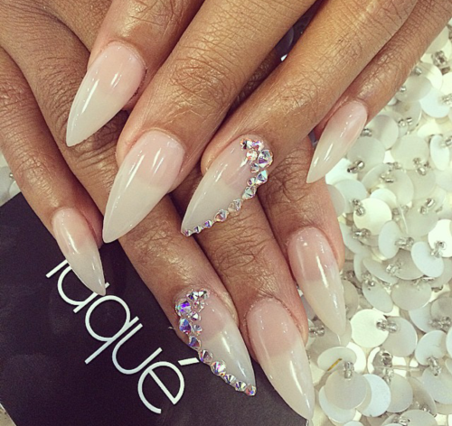 Clear Stiletto Nails With Cute Bling Pinterest