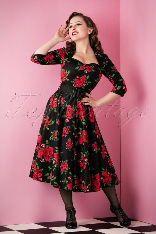 Bunny Black Swing Dress with Red Roses 102 14 11808 20151118 008W