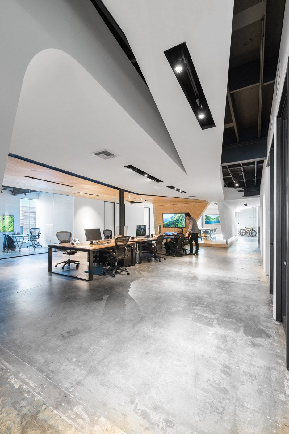 warehouse office design. Converted Warehouse Office By Domaen Features Sculptural Plywood Meeting Rooms Design