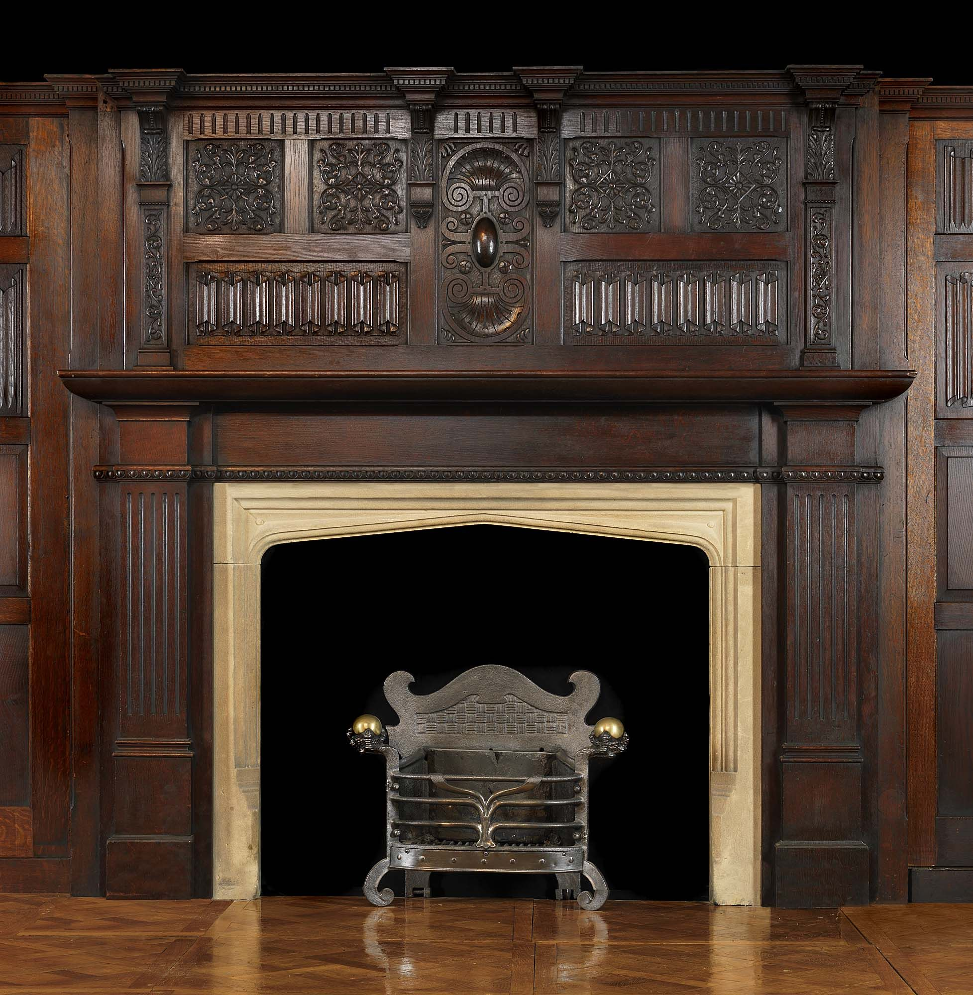 antique oak wood jacobean style arts and crafts fireplace