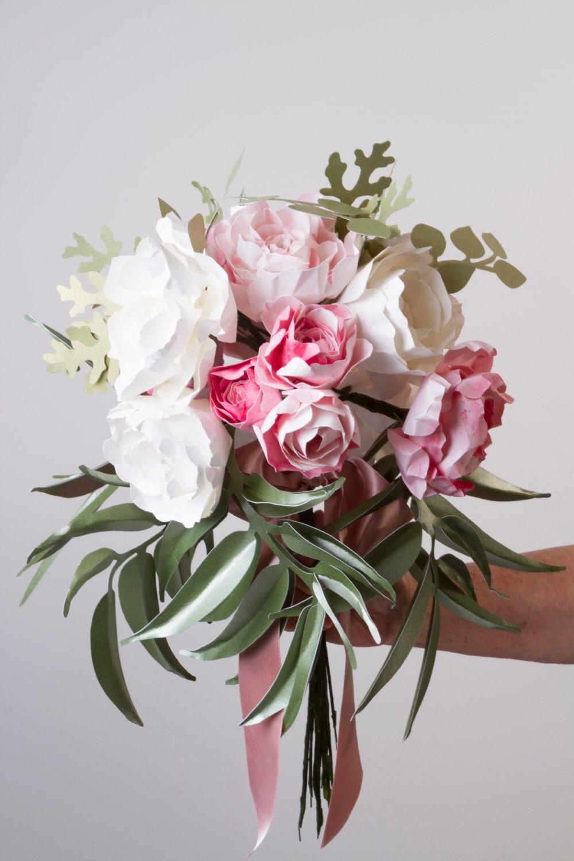 Paper Flower Bouquet Paper Peony Bouquet Eucalyptus Leaves Paper