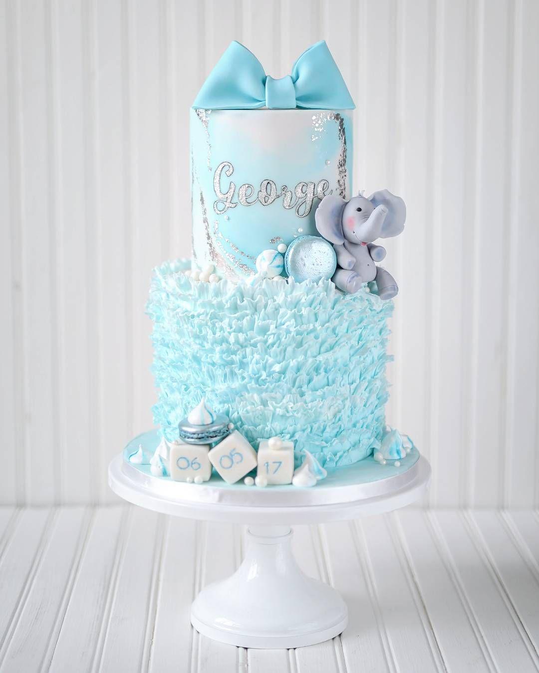 Blue ruffle elephant baby shower cake elephant