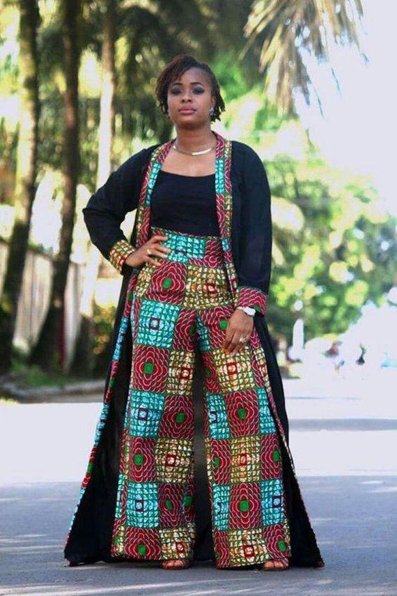 Veste Kimono imprimé africain avec jambe large pantalon - Ankara Print - robe africaine - Afrique - fait main - vêtements - mode africaine en deux pièces #afrikanischeskleid