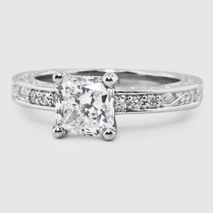 Platinum Delicate Antique Scroll Diamond Ring wedding ideas