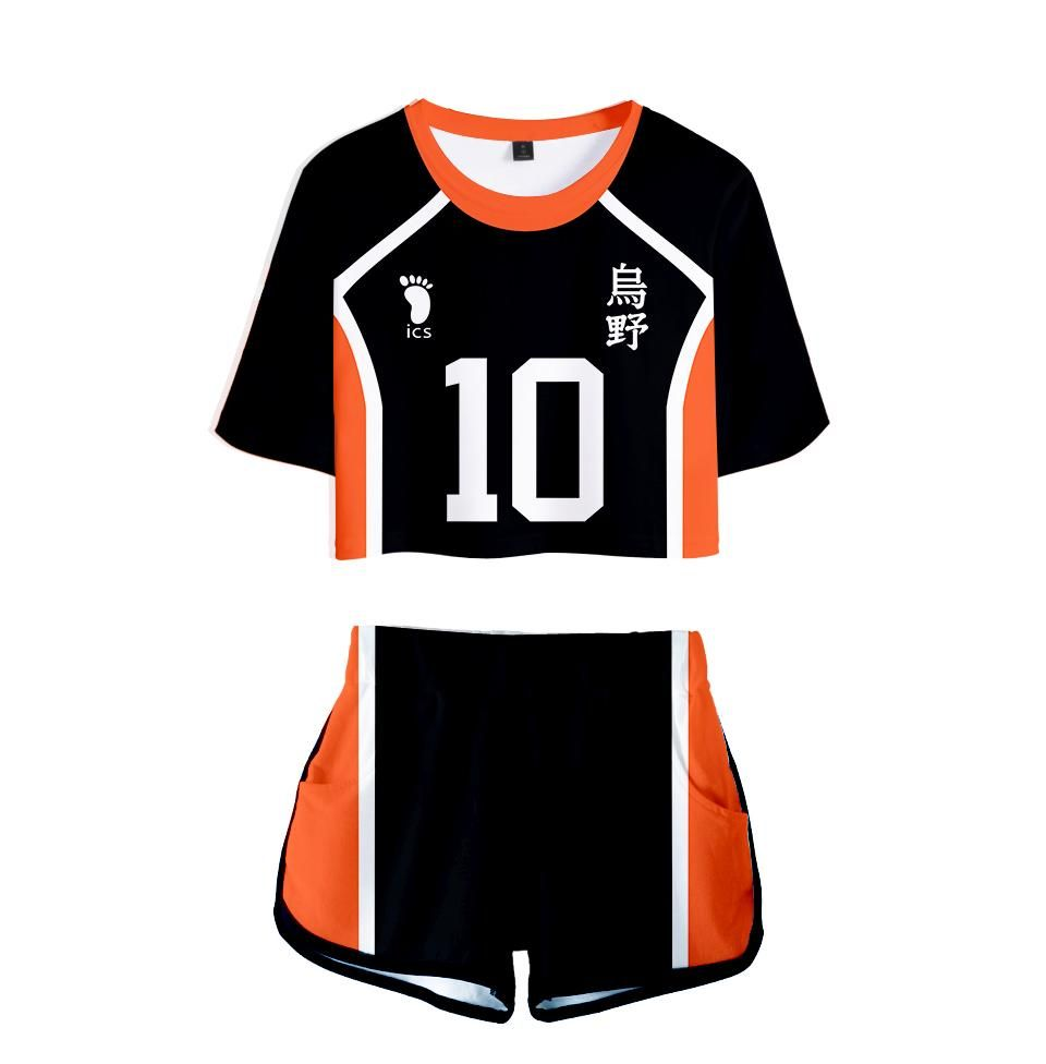 Haikyu Crop Shirt With Shorts Shouyou 2 Pieces Set Fatmeowmeow Com In 2020 Haikyuu Cosplay Crop Top And Shorts Anime Inspired Outfits