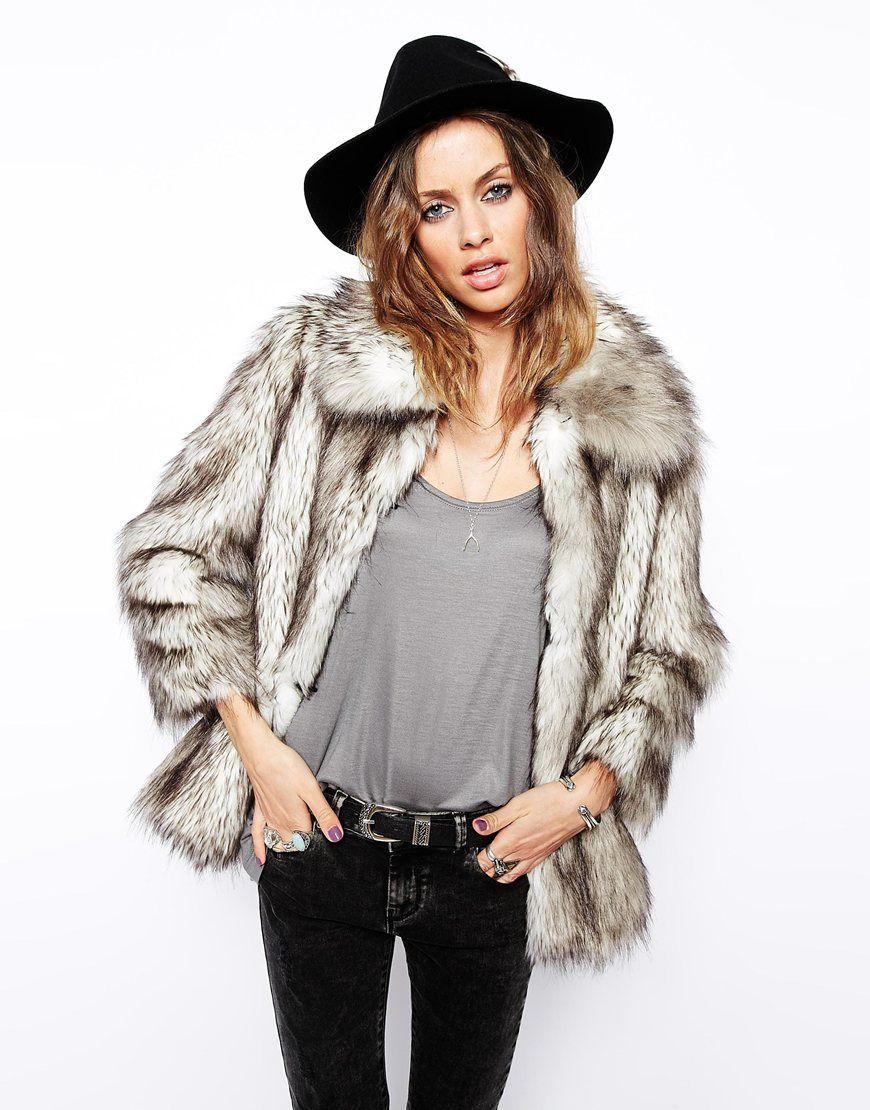 image 1 - asos - manteau fausse fourrure style vintage | mode
