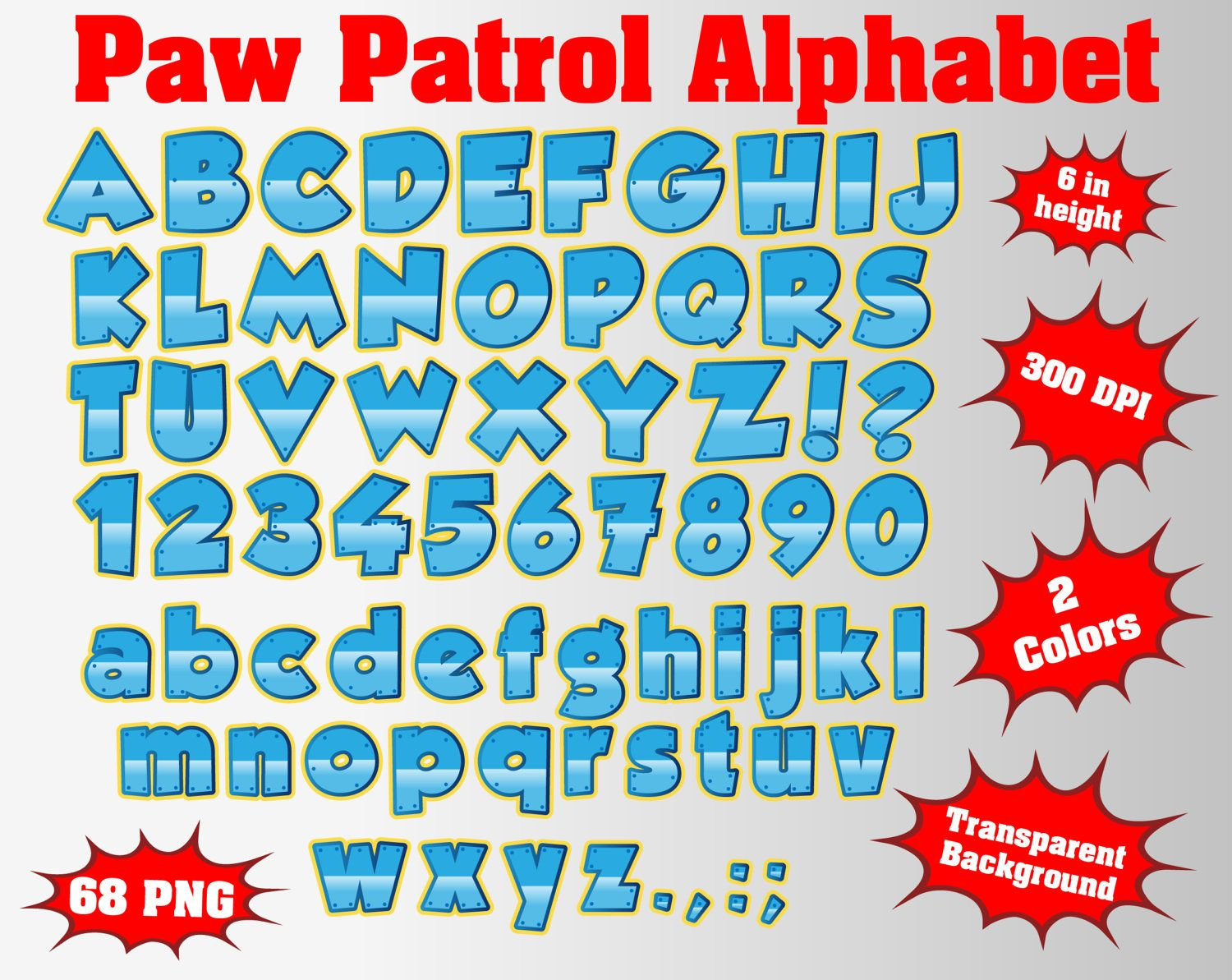 Paw Full Patrol Alphabet Numbers And Symbols 512 Png Svg 300