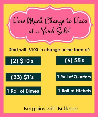 Quick Tip 8 How Much Change To Have At A Yard Sale