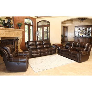 channing 3-piece top grain leather power-reclining set | family