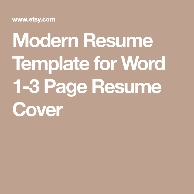 Modern Resume Template For Word  Page Resume Cover  Management
