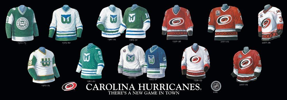 Hartford Whalers   Carolina Hurricanes uniform history  8316e83f623