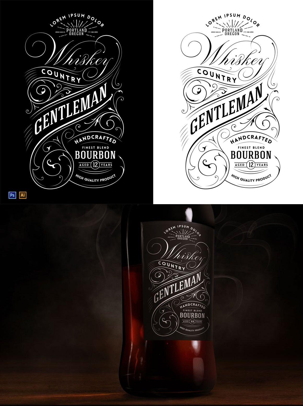Whiskey Label Logo Vector Shapes Templates Mockup Miniatures