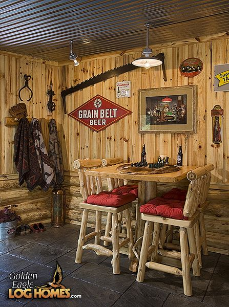 How Rustic Perfect For Our Log Home Basement Especially The Tin Ceiling