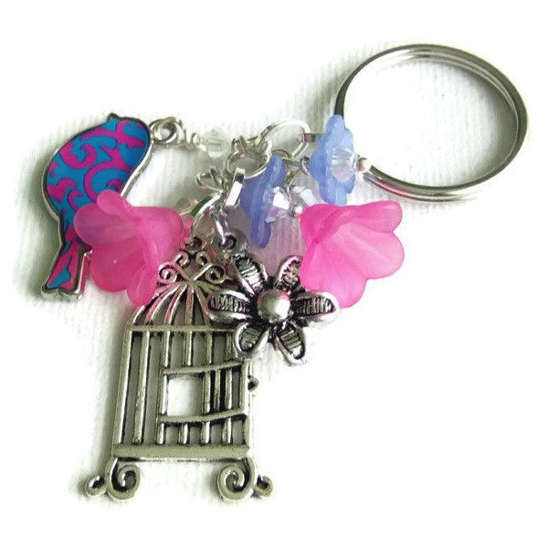 Bird and Birdcage Keyring, Keychain, Pink and Blue Keychain, Gift Idea ($6.87) ❤ liked on Polyvore featuring accessories, silver key ring, fob key chain, silver key chain, ring key chain and pink key chains
