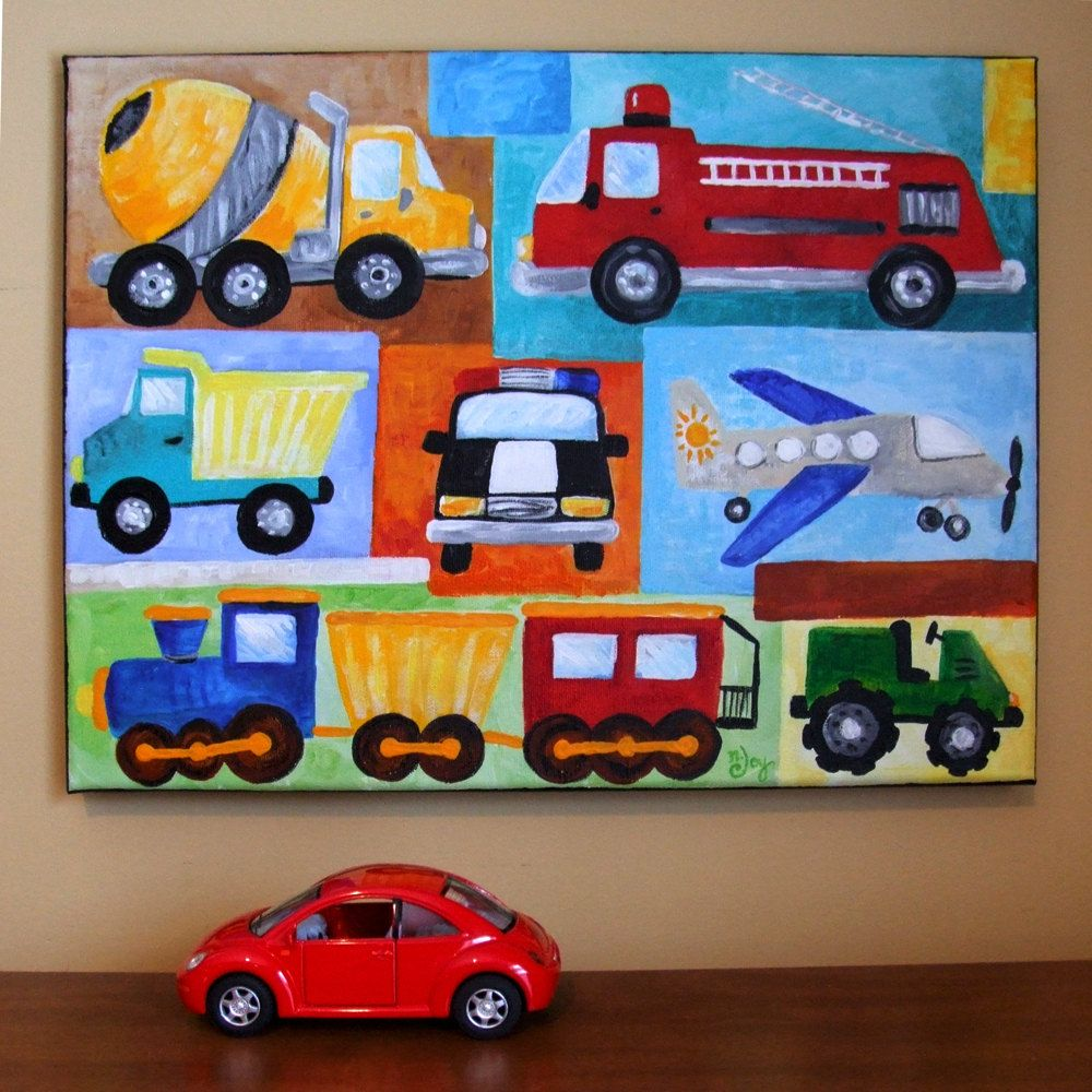 Custom 14x11 Transporttation Collage Acrylic Painting For Kids Boys Room Nursery Decor