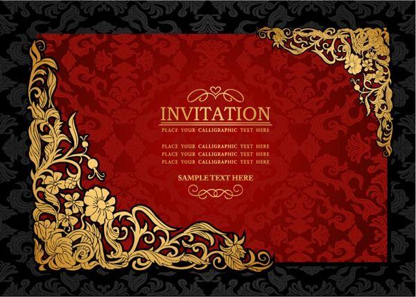 Elegant gold pattern invitation card vector graphics faizgr - best of invitation card sample for inauguration