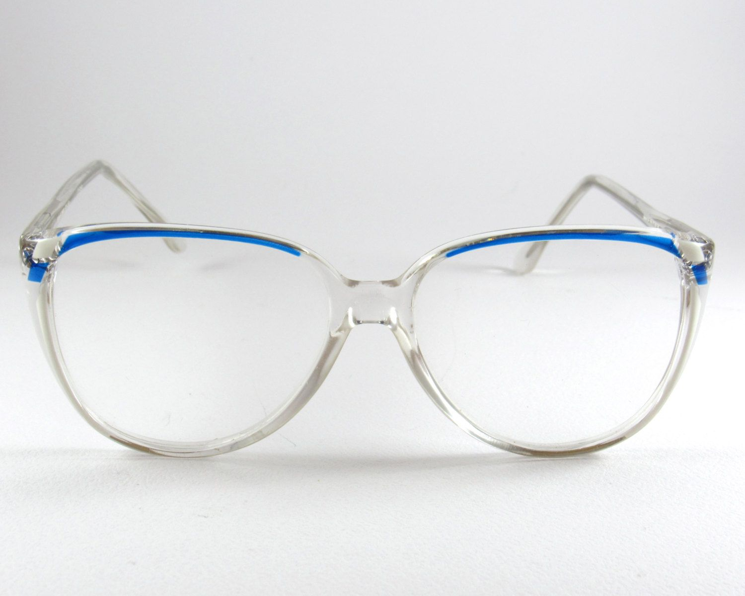 cbc97d49c530 ... 70s Clear Transparent Blue Oversize Frames made in Italy