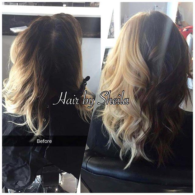 WEBSTA @ sheilaagm - ⚪️⚫️ before and after 🙀❤️ #cruelladevilhair #beautyqueenshairandnailbar #hairbysheilag