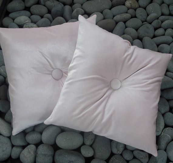 Pink Square Velvet Pillow Set Tufted Velvet Cushion Pair Velvet Retro Pillows
