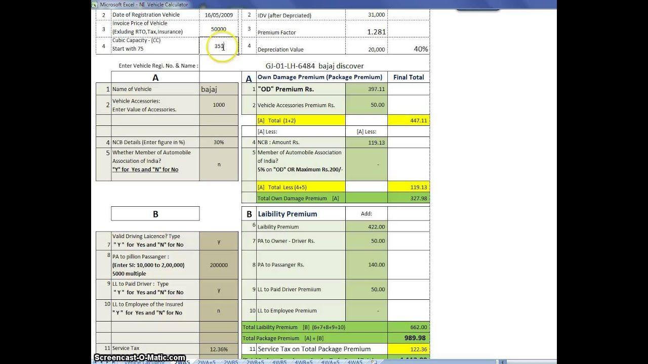 Vehicle Insurance Premium Calculator Video Car Insurance Premium Calculator Insurance Premium