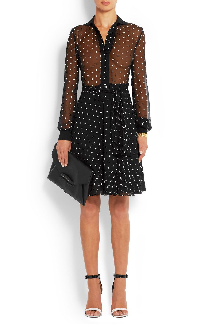 Givenchy Woman Cross-print Dress In Silk-crepe And Cotton-piqu JqmtyA32y