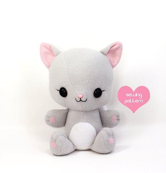 Plush Sewing Pattern Cat Stuffed Animal Kawaii Easy