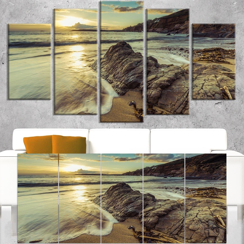 DESIGN ART Sunset at Beach Vintage Style - Modern scape Artwork