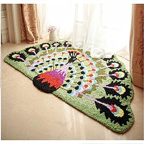 Ustide Colorful Peacock Feather Rug Handmade Doormats Half Round Bedside/Bath  Rug Non