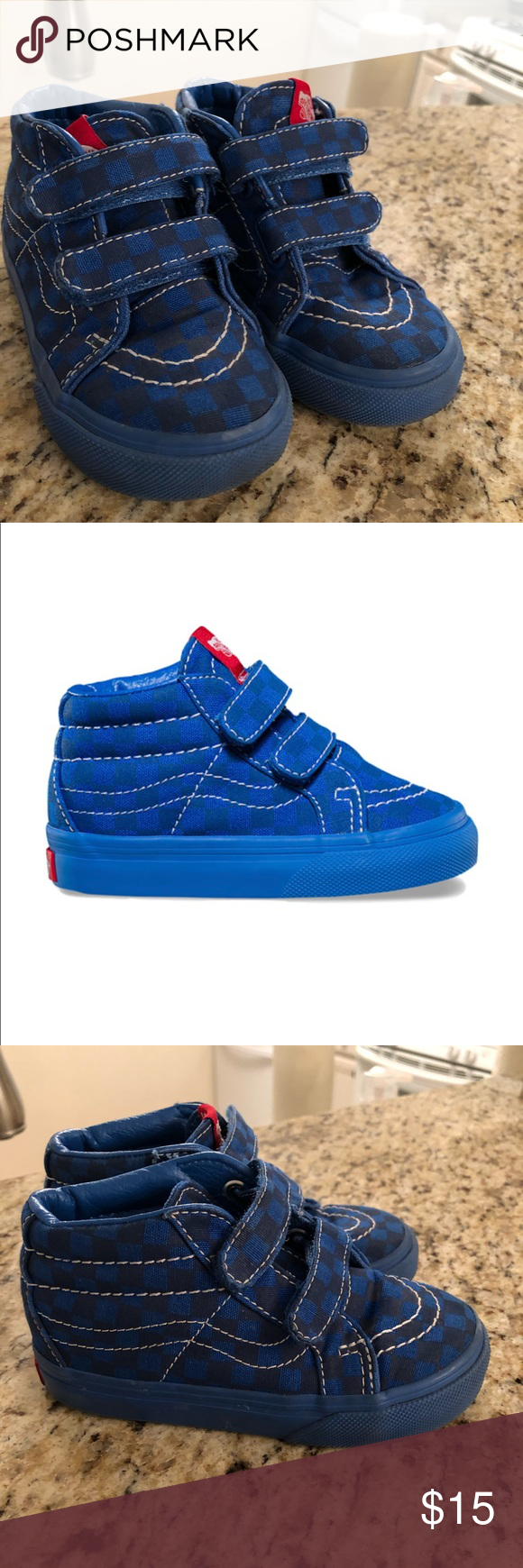 c9e636af3b67 Awesome Blue tone on tone checkered mid top Vans! Rare find! Vans The Mono