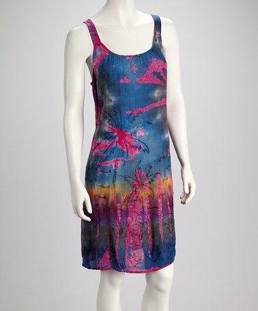 6048d1df09 Look what I found on  zulily! Pink   Blue Tie-Dye Palm Dress - Women by  Raya Sun  zulilyfinds