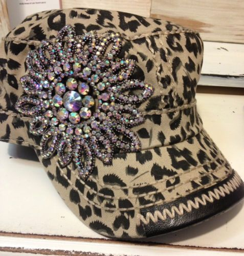 5b409460593 Olive Pique Leopard Flower Rhinestone Bling Military Cadet Hat Capthe  Buckle