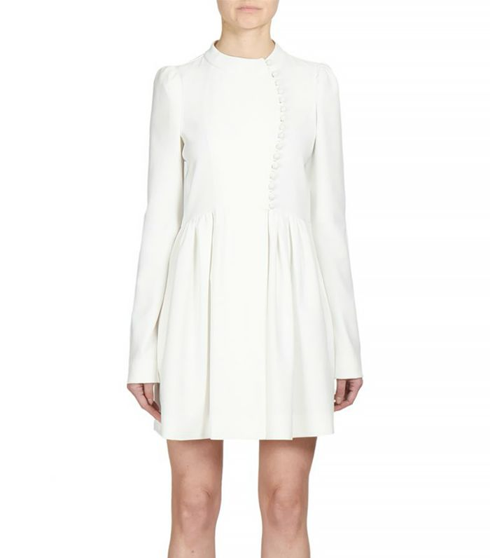 Chloe Button-Front Flared Crepe Dress