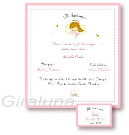 Tarjeta de bautismo con tarjeta de souvenir