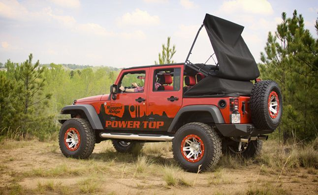 turn your jk jeep wrangler into a soft top convertible with rugged ridge powertop jeep things. Black Bedroom Furniture Sets. Home Design Ideas