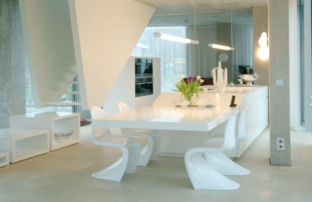 Zwevende Open Keuken : Modern interieur met open keuken. keukeninspiratie. kookeiland in
