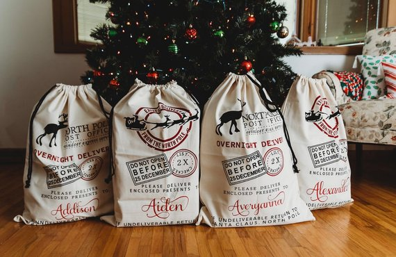 Personalized Santa Bags Christmas Gift Bags Custom Gift Etsy In 2020 Christmas Bags Custom Gift Bags Personalized Christmas Gifts