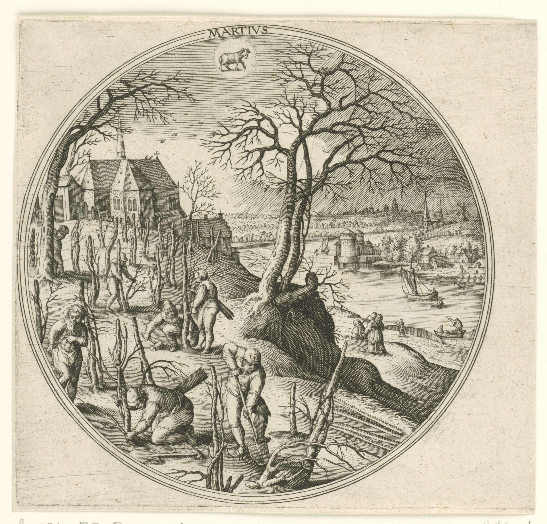 Adriaen Collaert   Maart, Adriaen Collaert, Hans Bol, Hans van Luyck, 1578 - 1582   Ronde lijst met een landschap met voorjaarstaferelen. Maart is de plantmaand. Overal zijn mensen in de weer met het planten van bomen. Middenboven het sterrenbeeld Ram. De prent is deel van een twaalfdelige serie over de twaalf maanden.