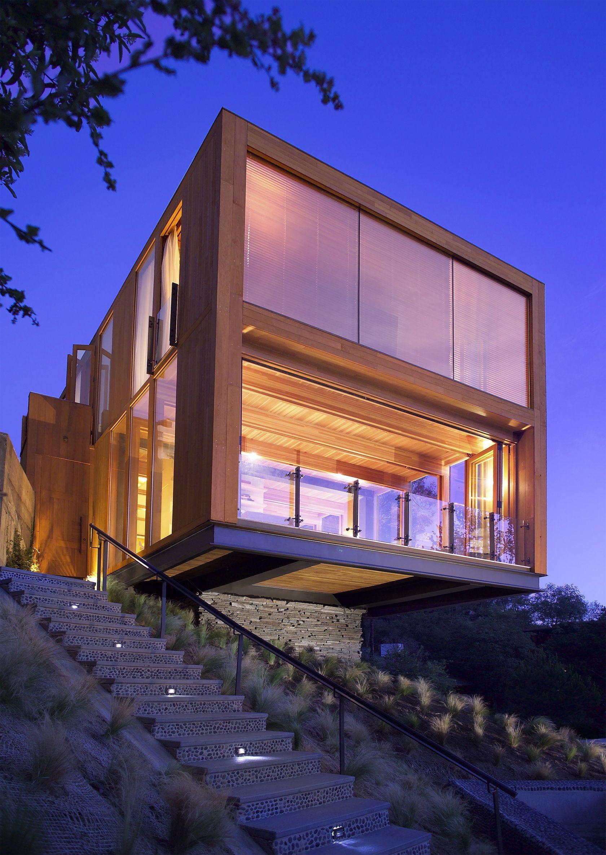 Hollywood hills box house eyster residence a e for Casas modernas hollywood