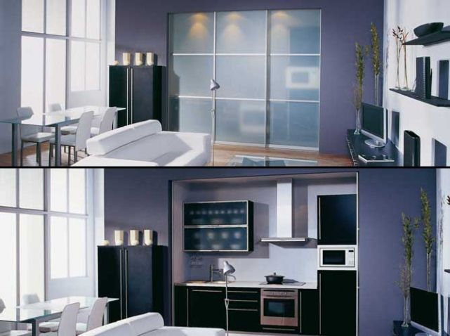 Une cuisine cachée dans un placard - Elle Décoration Sliding door