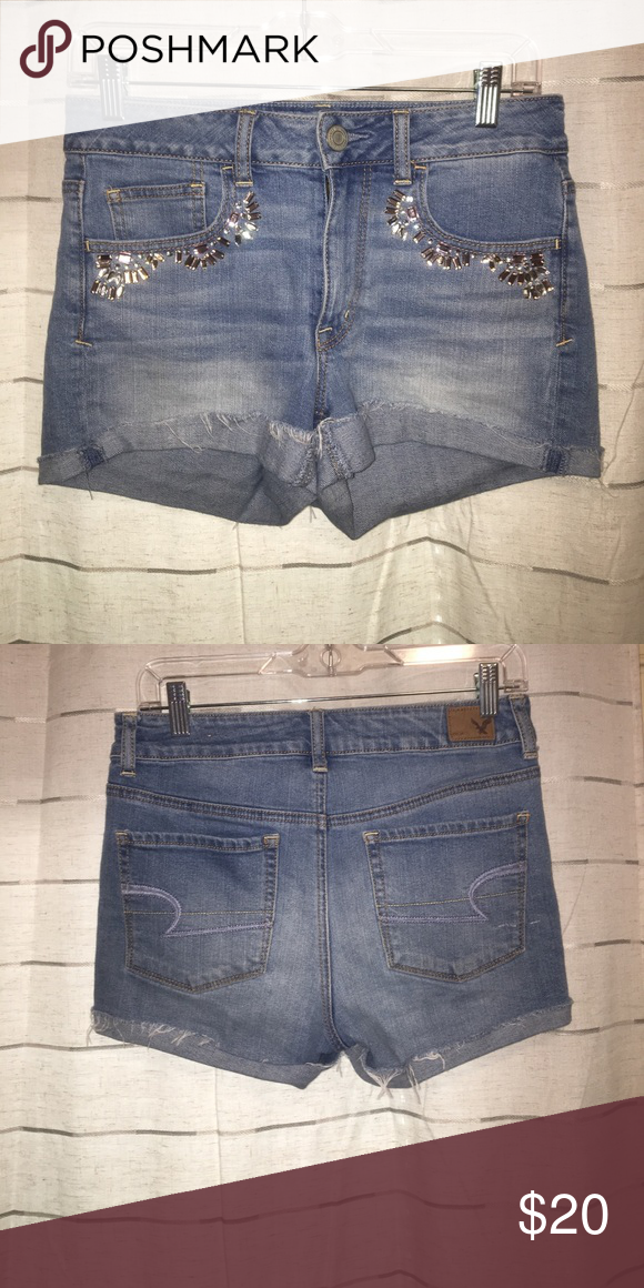 American Eagle denim shorts High waisted jeweled pocket shorts American Eagle Outfitters Shorts Jean Shorts