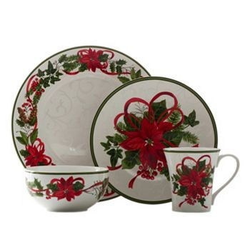 222 Fifth Holiday Festivities 16-pc Dinnerware Set Christmas is