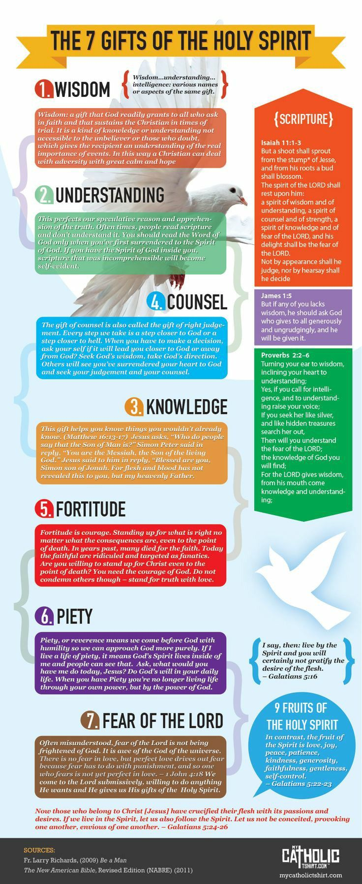 Pin by srice adams on bs holy spirit pinterest spiritual the 7 gifts of the holy spirit infographic mycatholictshirt negle Image collections